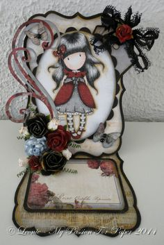 Gorjuss Girl Shaped Easel Card for Lavish Laces
