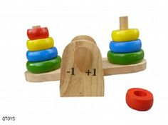 Classic wooden stacking rings combine with a balancing see saw to help develop problem solving skills, logical thinking and fine motor skills.  www.ilovewoodentoys.com.au