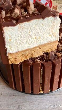 Cold Desserts, No Bake Desserts, Easy Desserts, Dessert Recipes, Kit Kat Cheesecake, Cheesecake Recipes, Delicious Deserts, Yummy Food, Tasty
