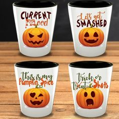 This set of Funny Pumpkins Shot glasses makes the perfect gift for that Halloween lover in your life. Funny Pumpkins, Halloween Pumpkins, Halloween Decorations, Halloween Shots, Halloween Party, Funny Shot Glasses, Dead Makeup, Friend Birthday, Trick Or Treat