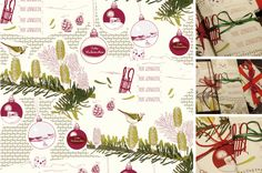 artwork, illustration, christmas wrapping paper