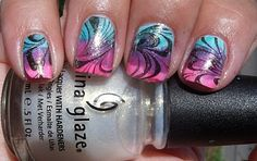 Colores de Carol: A Cool Water Marble Manicure!