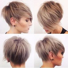 pixie haircut with caramel highlights