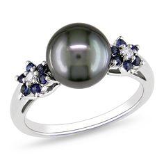 <li>Tahitian pearl with sapphire and diamond ring</li> <li>10-karat white gold jewelry</li> <li><a href='http://www.overstock.com/downloads/pdf/2010_RingSizing.pdf'><span class='links'>Click here for ring sizing guide</span></a></li>