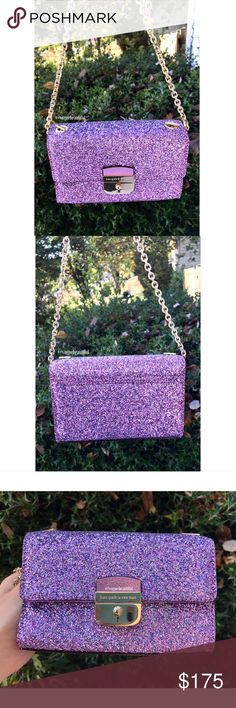 Kate Spade Purple Glitter Crossbody Super cute Kate Spade glitter mini crossbody • purple color {color may vary slightly from my photos} • 100% authentic but interior KS tag is missing because this was a sample sale item • DIMENSIONS: 6.75 inches across x 4.5 inches in height • chainlink crossbody strap is not adjustable (One size) • for an idea of size, my iphone 7 plus fits inside and so would all other iphone models. for other phones please see dimensions • excellent condition - some…