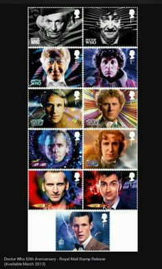 Royal mail stamps to be released in March in order to coincide with the 50th anniversary of Who!