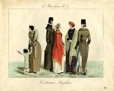 Plate 75: three English women and two English men in outdoor clothes and coats. February 1815  Hand-coloured etching