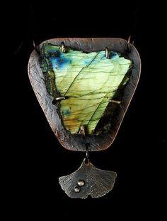 Jewelry by Anna Labradorite Ginkgo Leaf Copper Sterling Silver and Fine Silver Pendant. $215.00, via Etsy.