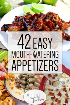 42 Easy Super Bowl Appetizers - Mommy Thrives Easy Appetizer Recipes for a Party - Dips, Finger Foods, Cold, Hot, and Crockpot Appetizers - 42 Delicious Mouth Watering Appetizers Warm Appetizers, Heavy Appetizers, Appetizers For A Crowd, Easy Appetizer Recipes, Dinner Recipes, Healthy Recipes, Appetizers Superbowl, Appetizer Ideas, Italian Appetizers