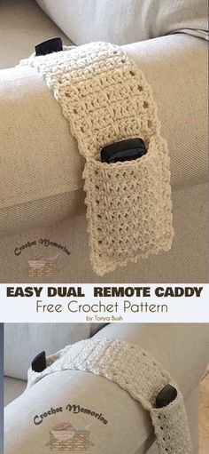 Easy Dual Remote Caddy Free Crochet Pattern Crochet for home You are in the right place about Crochet slippers Here we offer you the most. Crochet Simple, Free Crochet, Knit Crochet, Free Easy Crochet Patterns, Easy Things To Crochet, Crochet Ideas, Diy Crochet Gifts, Crochet Double, Crochet Bag Tutorials