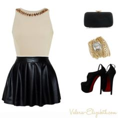 Crop top, leather-pleated mini, and some killer heels! Great #ValentinesDay outfit idea~