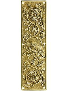 Door Hardware Push Plates. Tropical Parrot Push Plate In Solid, Cast Brass