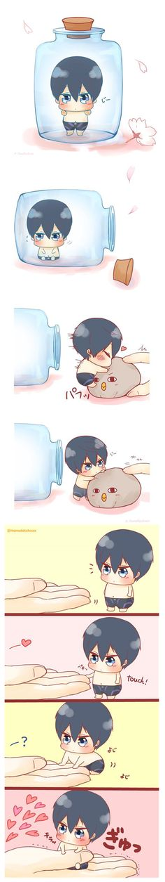Trying to get Haru out of the bottle and making him like you ...  From Homofetchxxx ... Free! - Iwatobi Swim Club, haruka nanase, haru nanase, haru, nanase, haruka, free!, iwatobi