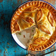This warming chicken, mushroom and tarragon pie is sure to hit the spot