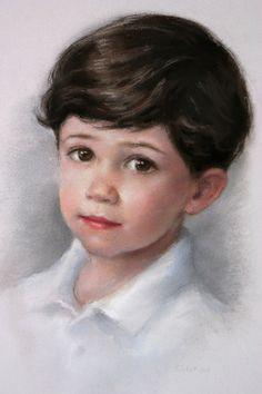 pastel portrait---------What beautiful little boy. I know he isn't beautiful but…