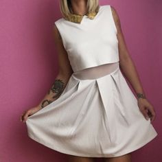 LOWEST ✌️ ASOS white mesh panel dress Gorgeous white mesh panel dress. Absolutely adorable and brand new, still has tags! The collar is beaded with a hold/brass colored bead. Underneath the top part is mesh as well and has peak-a-boo back paneling! Size is 8 ASOS Dresses Mini