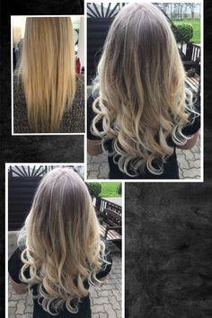 Haarverlängerung mit europäischem Schnitthaar. Anschließend ein Balayage gefärbt.
