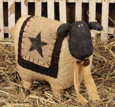 primitive rustic country decor | ... -Sheep-with-Star-Primitive-Country-Rustic-Stuffed-Embroidered-Decor