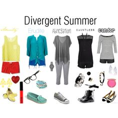 """""""Divergent Summer"""" by callmeunwritten on Polyvore id get the erudite shirt, the dauntless and the abnegation outfits..."""