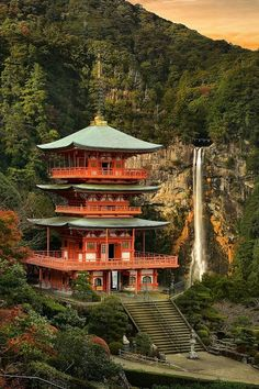 a Shinto shrine in the Kii Mountain Range of Japan. Wonderful Places, Beautiful Places, Amazing Places, Places To Travel, Places To Go, Japon Tokyo, Mont Fuji, Japanese Temple, Japanese Pagoda