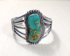 Vintage Navajo Blue Green Turquoise Cuff by RubyandJuniper on Etsy, $395.00
