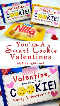 Smart Cookie Valentine Printable for Classrooms and Parties .-Smart Cookie Valentine Printable for Classrooms and Parties – Your Everyday Family You're A Smart Cookie Valentine's Day Printable - Valentines Day Food, My Funny Valentine, Printable Valentines Day Cards, Kinder Valentines, Valentine Gifts For Kids, Valentine Day Crafts, Valentine Treats, Valentine Cards, Preschool Valentine Ideas