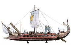 Roman Bireme Warship used during the first Punic war with Carthage. It was with vessels such as these that Rome was able to finally overcome Carthaginian Naval superiority. The main reason being the strange device at the front of the ship, the Corvus (Crow in English).