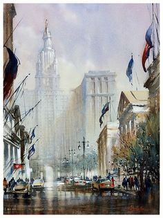 municipal building - manhattan  thomas w schaller - watercolor  24x18 inches
