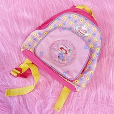 @lyuu STRAWBERRY SHORTCAKE BACKPACK - Officially licensed... - Depop Yellow Backpack, Pink Cat, Outfits With Hats, Cute Bags, Strawberry Shortcake, Little Red, Silver Glitter, Crystal Beads, Thrifting