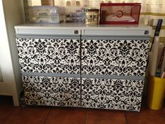 Update on filing cabinet - Scrapbook paper! i am so doing this ...