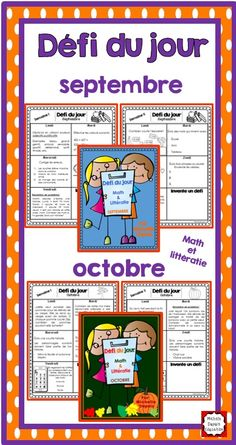 Défi du jour - septembre (French Problem of the day and Literacy FUN! French Teacher, Teaching French, Writing Folders, French Worksheets, Core French, French Education, French Classroom, French Resources, Primary Teaching