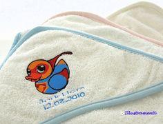 Handtuch mit Kapuze für Babies indivuell bestickt von Illustramenti - Nadelmalerei - Embroidery auf DaWanda.com