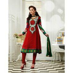 Red Chiffon Salwar Kameez