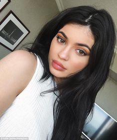 Picture perfect: Jenner Instagrammed a selfie of her flawless makeup on Monday...