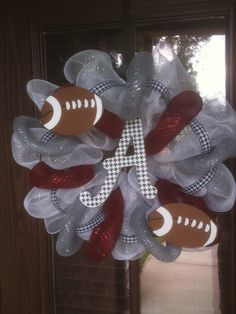 Alabama Crimson Tide Deco Mesh Football Wreath