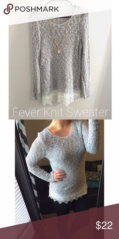 Spotted while shopping on Poshmark: Fever Gray Knit Sweater With Lace Trim! #poshmark #fashion #shopping #style #Fever #Sweaters