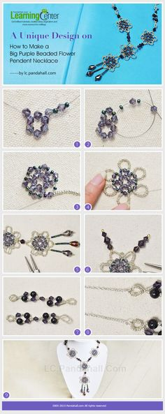A Unique Design on How to Make a Big Purple Beaded Flower Pendent Necklace