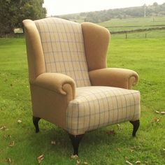Bespoke Aintree English Country Style Wingback Check Armchair Wingback Chair, Armchair, Comfortable Living Room Chairs, Chair Redo, English Country Style, Going Home, Home Staging, Bespoke, Beautiful Homes