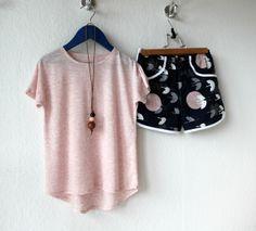 1000 cranes shorts and pink shirt // groovybaby...and mama