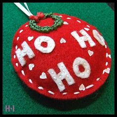 / Ho Ho Ho / Red and White Christmas Tree Decoration White Christmas Tree Decorations, Felt Christmas Ornaments, Christmas Colors, Red Christmas, Christmas Stuff, Xmas, Christmas Time Is Here, Felt Patterns, Bauble