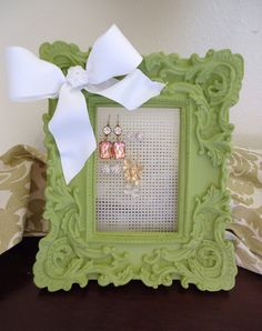 Jewelry Organizer Stud Earring Holder-Shabby Chic -Kelly Green French Country -Ready to Ship. $24.50, via Etsy.