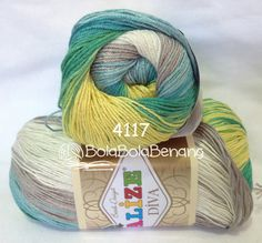 ALIZE DIVA BATIK 4117, Price: 90.000,-/gulung, Bahan: 100% Microfiber Akrilik, Berat/Panjang: 100gr/350m, Knitting Needles: 2,5mm – 3,5mm, Crochet Hook: 1mm - 3mm