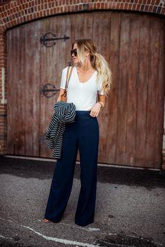 Elle Apparel   Sailor striped jacket + wide leg pants