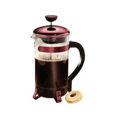 Coffee Makers Breakfast Drinks On the go Breakfast Classic Coffee Press 8 cup Metallic Red Glass Jug w Lid  Stainless Plunger ** You can get additional details at the image link. (This is an affiliate link) #coffeedrink