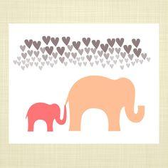 Baby & Mama Elephant- Kids Wall Art, Nursery art, Baby Girl Nursery, Elephant Art on Etsy, $14.00