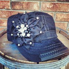 Sassy Flower Cadet Hat - Black