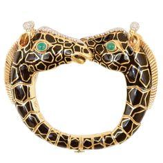 Diamond, Emerald, Enamel, Platinum, Gold Bracelet, David Webb