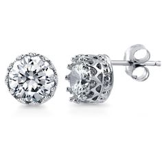 BERRICLE Sterling Silver Round Cut CZ Solitaire Stud Earrings 1.68... (€31) ❤ liked on Polyvore featuring jewelry, earrings, stud earrings, clear, women's accessories, post earrings, sterling silver cz earrings, crown earrings, sterling silver earrings and clear stud earrings