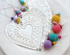 Mexican Tin Heart Hanging Decoration, Boho Chic Decor, Metal Ornament