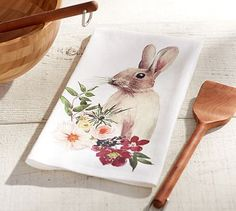 Floral Bunny Kitchen Towel